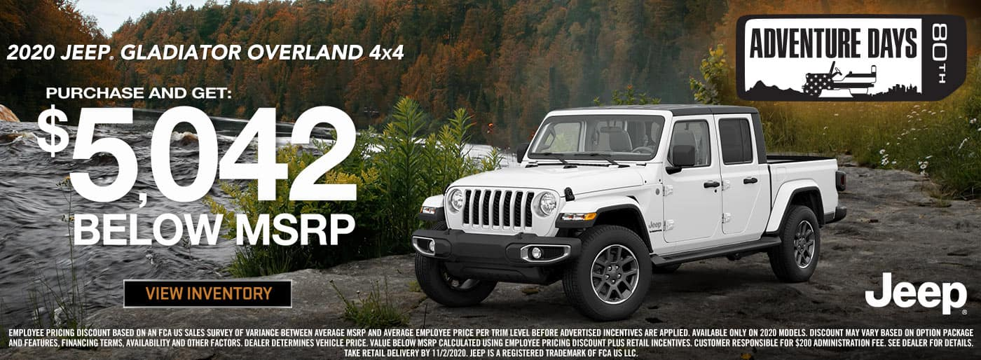 2020 Jeep Gladiator $5,402 Below MSRP