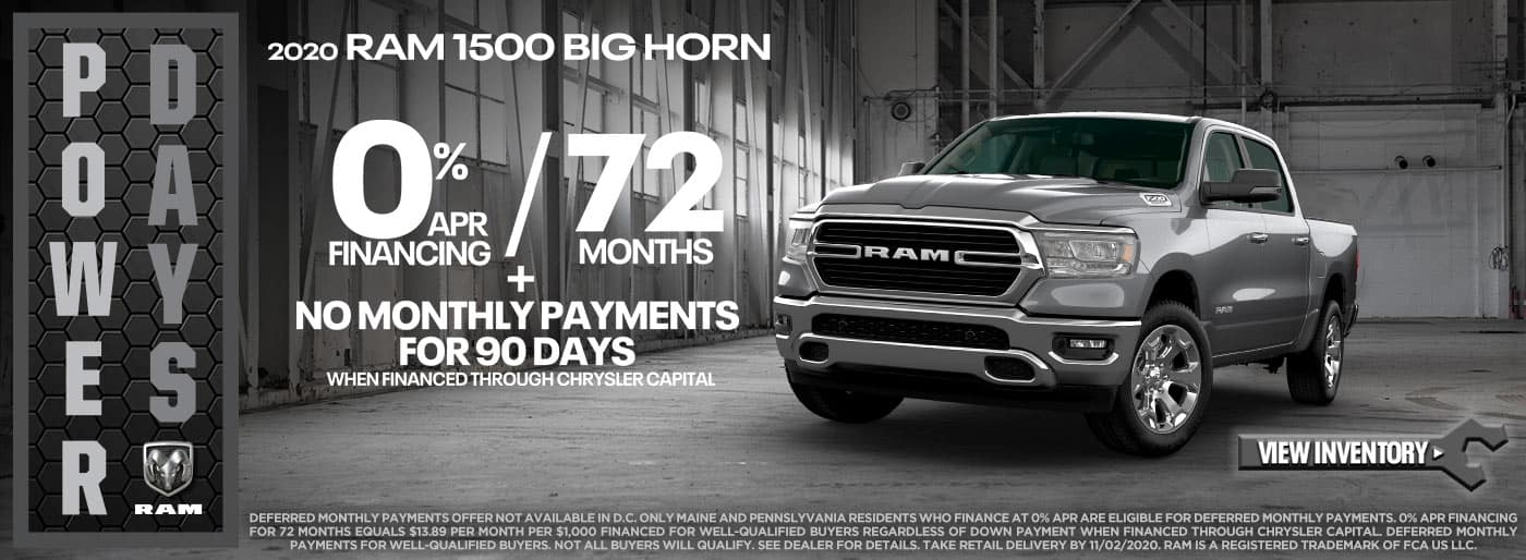 2020 Ram 1500 Big Horn 0% APR for 72 Months