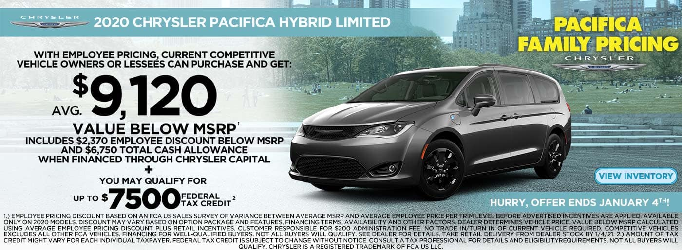 2020 Pacifica Hybrid $9120 below msrp