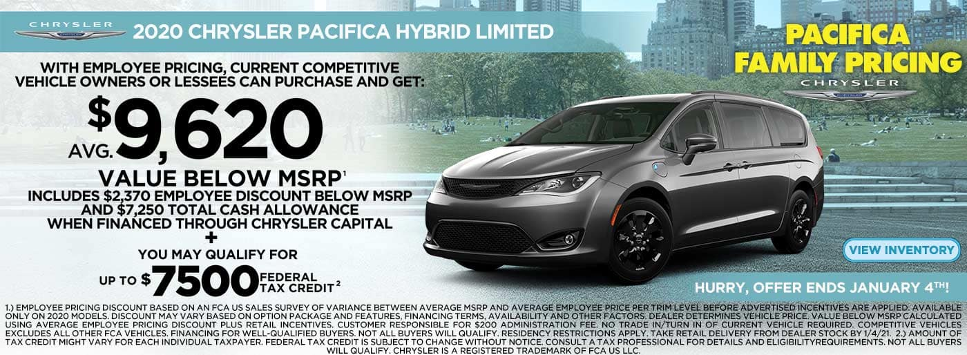 2020 Pacifica Hybrid $9620 below msrp