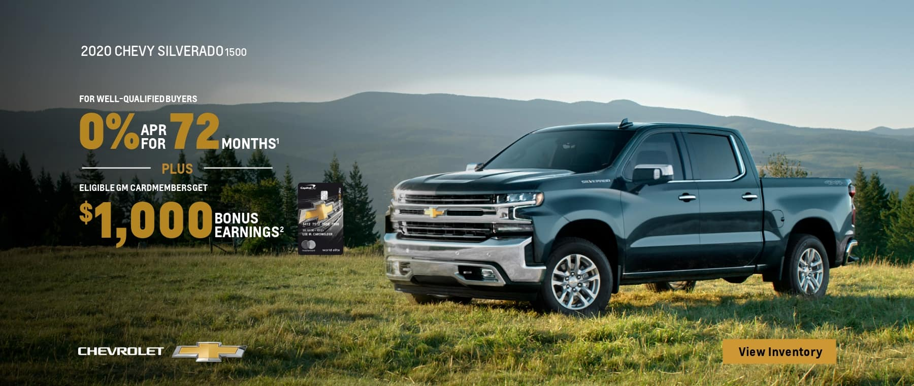 2020 Chevy Silverado 1500 - 0% financing for 72 months