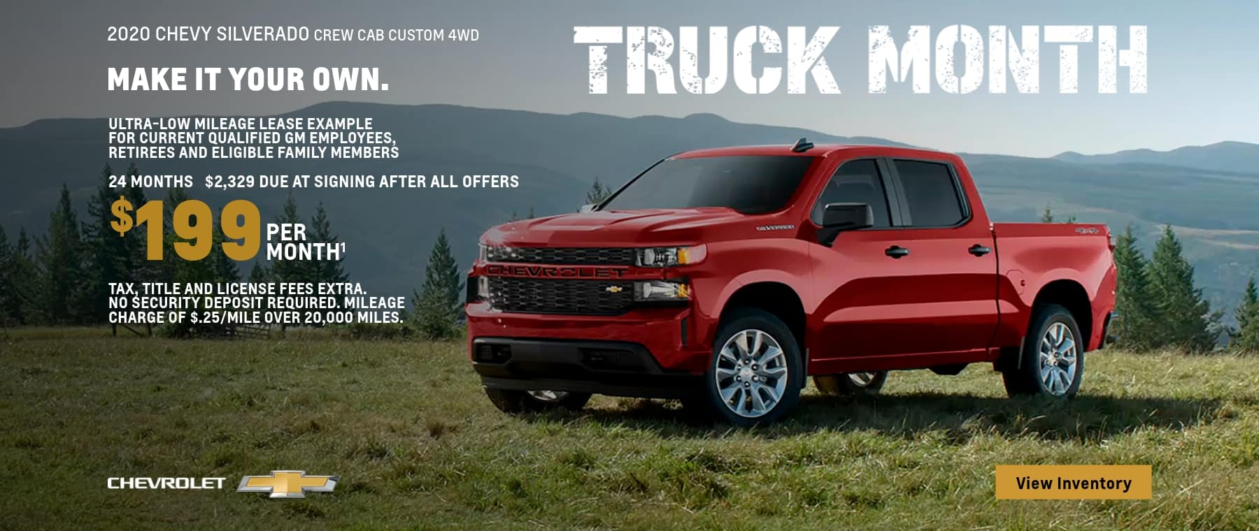 2020 Silverado 1500 Crew Cab Custom 4WD Ultra-Low Mileage Lease Examples for Qualified Lessees $199 per month.