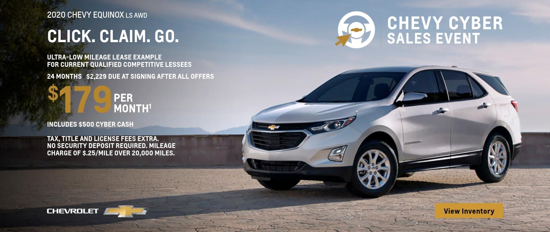 Ultra low mileage lease example for current qualified competitive lessee. 24 month, 2,229 due at signing, $179 per month. Includes $500 Cyber Cash.