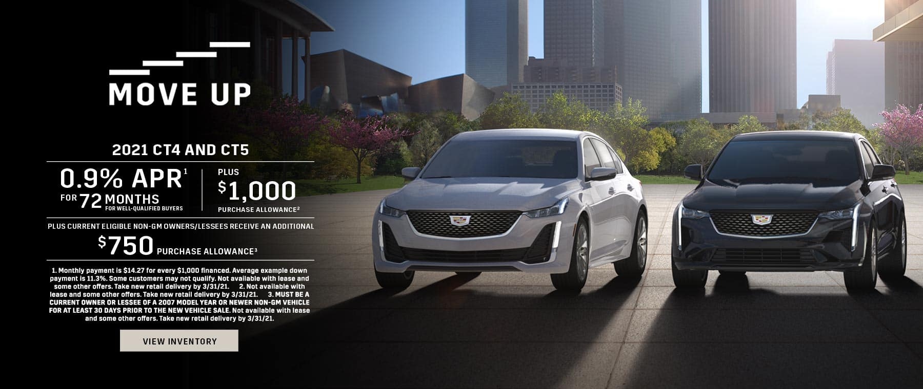 2021 Cadillac CT4 and CT5 0.9% APR for 72 + $1,000 + $750
