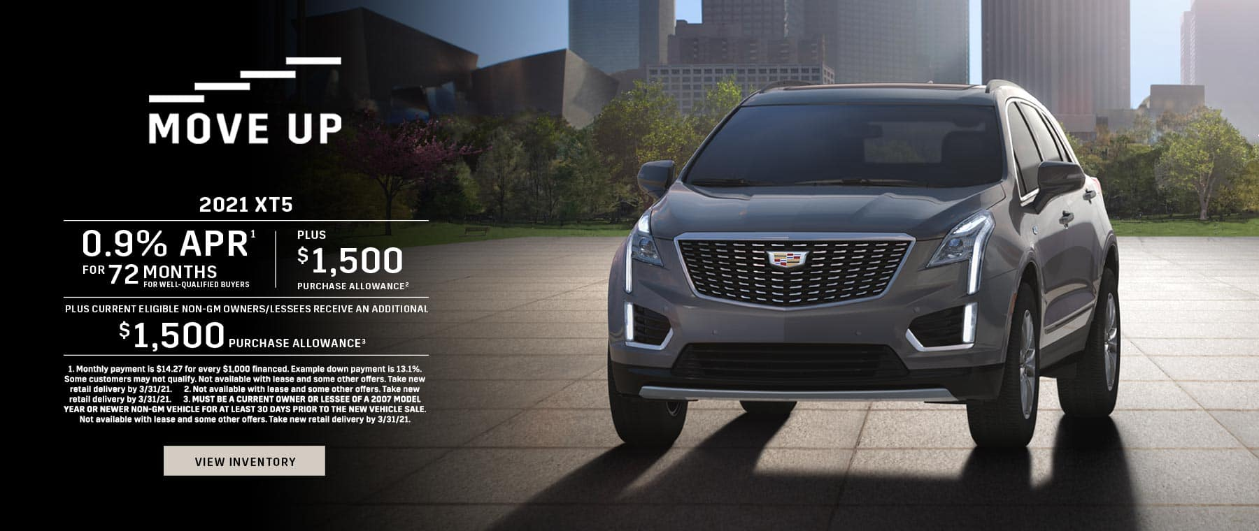 2021 Cadillac XT5 0.9% APR for 72 + $1,500 + $1,500