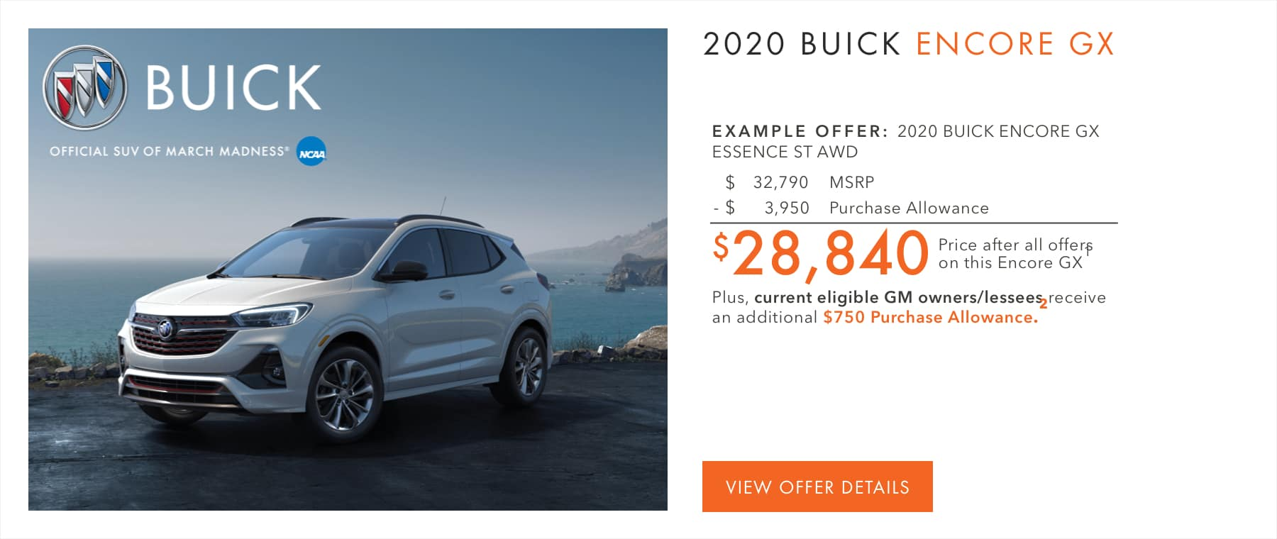 $3,950 Purchase Allowance.1 Plus, current eligible Buick or GMC owners/lessees receive an additional $750 Purchase Allowance.2