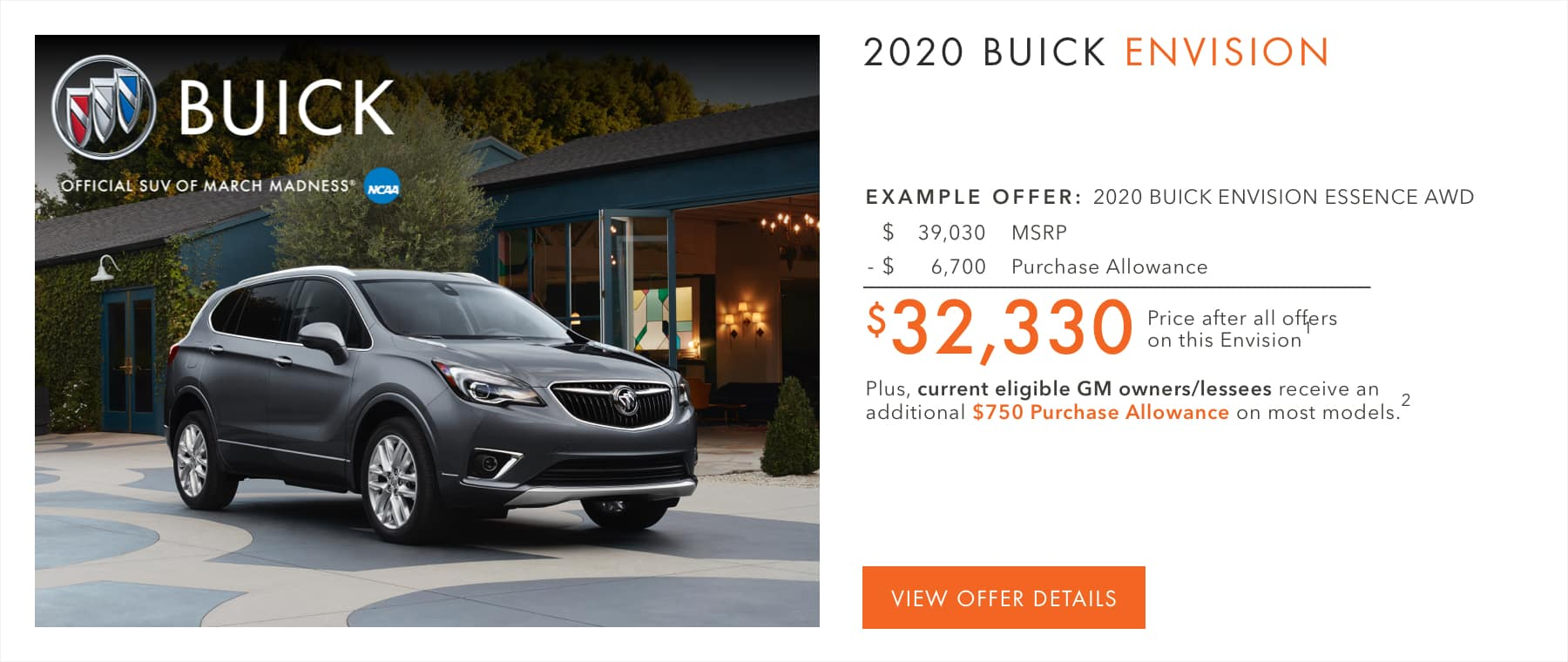 $6,700 Purchase Allowance on most models.1 Plus, current eligible Buick or GMC owners/lessees receive an additional $750 Purchase Allowance on most models.2