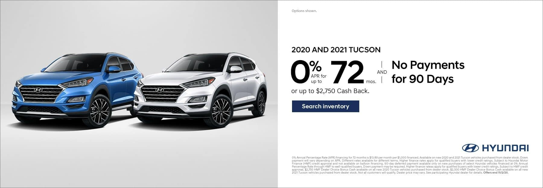 2020 and 2021 Hyundai Tucson 0% for 72mo