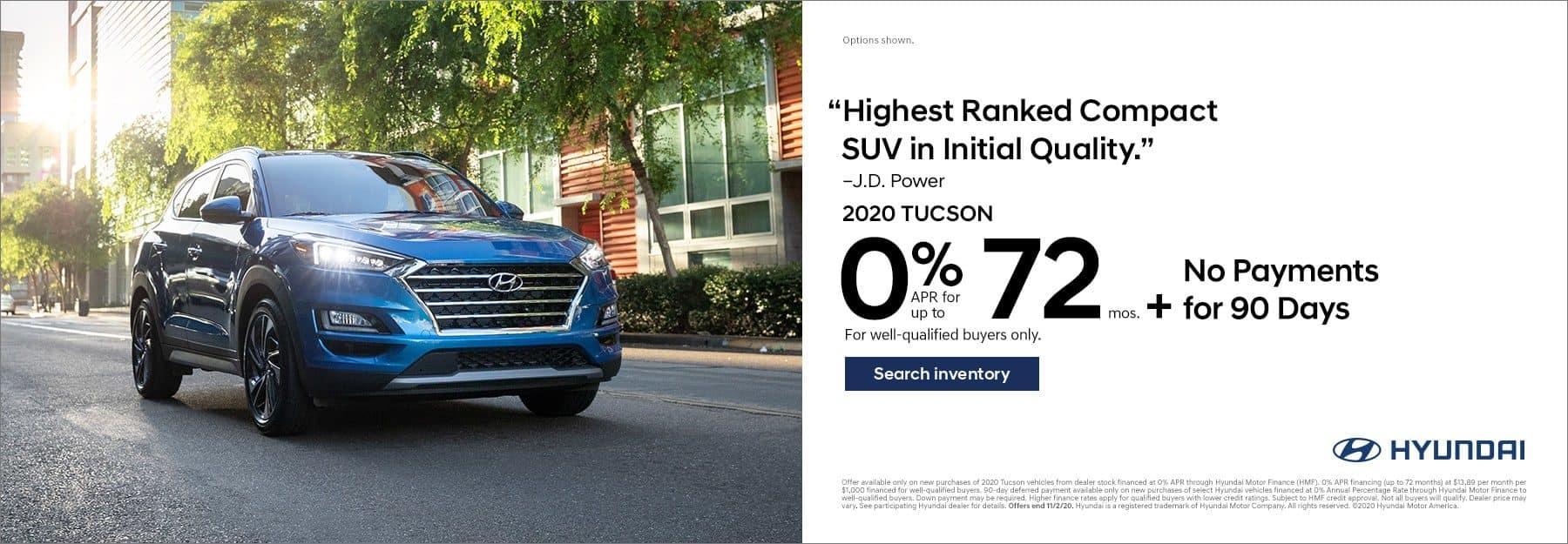 2020 Hyundai Santa Fe 0% APR for 72mo