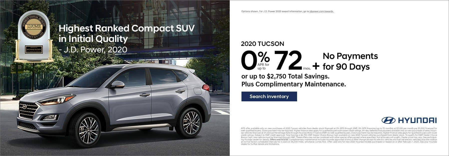 2020 Hyundai Santa Fe 0% APR for 72mo