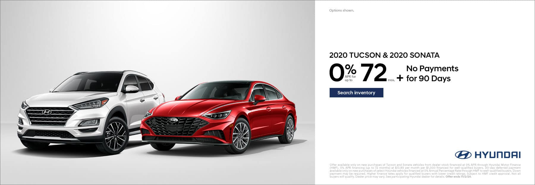 2020 Hyundai Sonata and Tucson 0% APR for 72mo