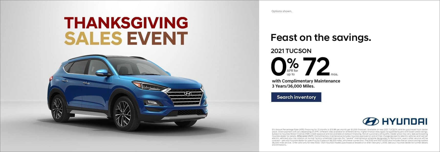 2021 Hyundai Tucson 0% for 72mo