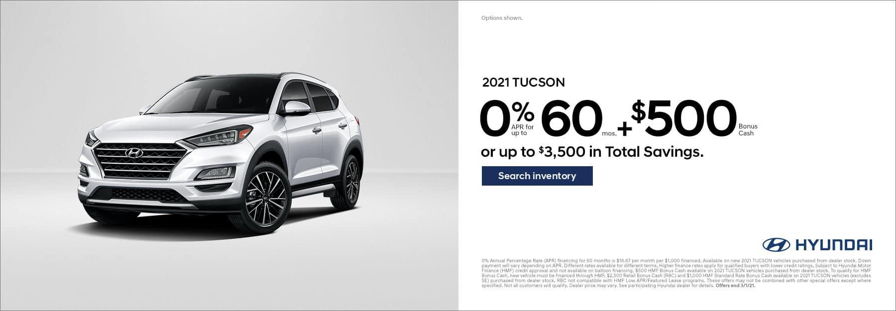 2020 Tucson 0% for 60