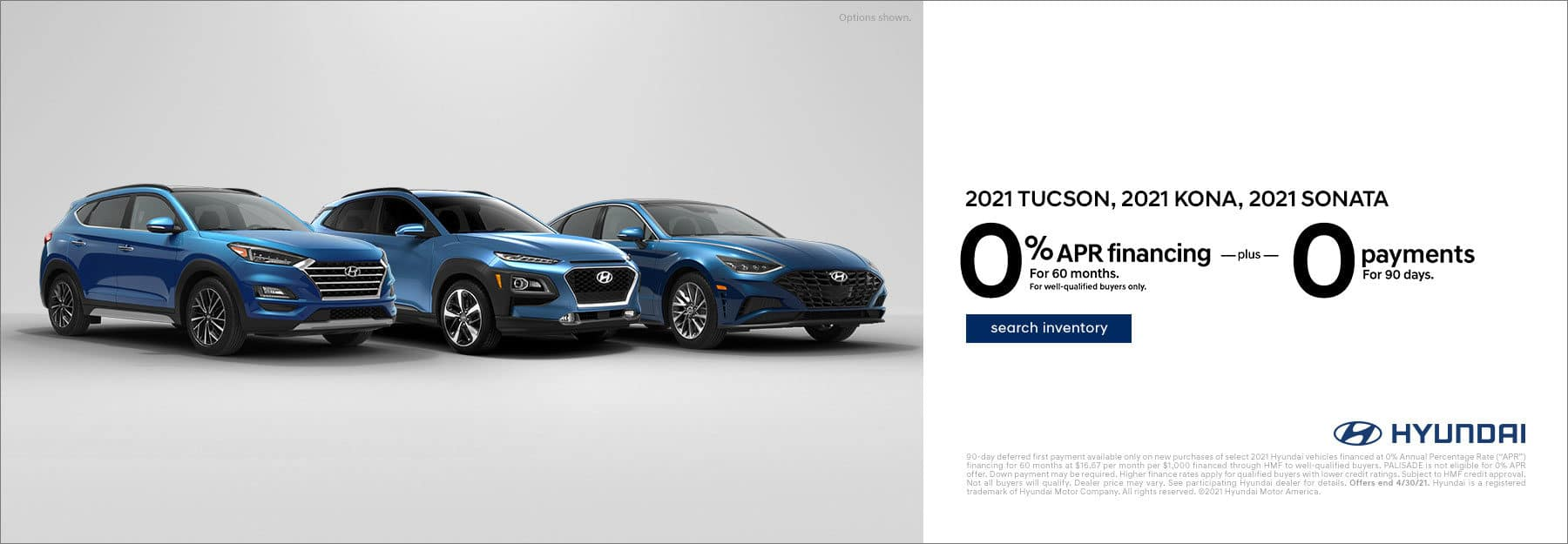 2021 Tucson Kona and Sonata, 0% for 60 months