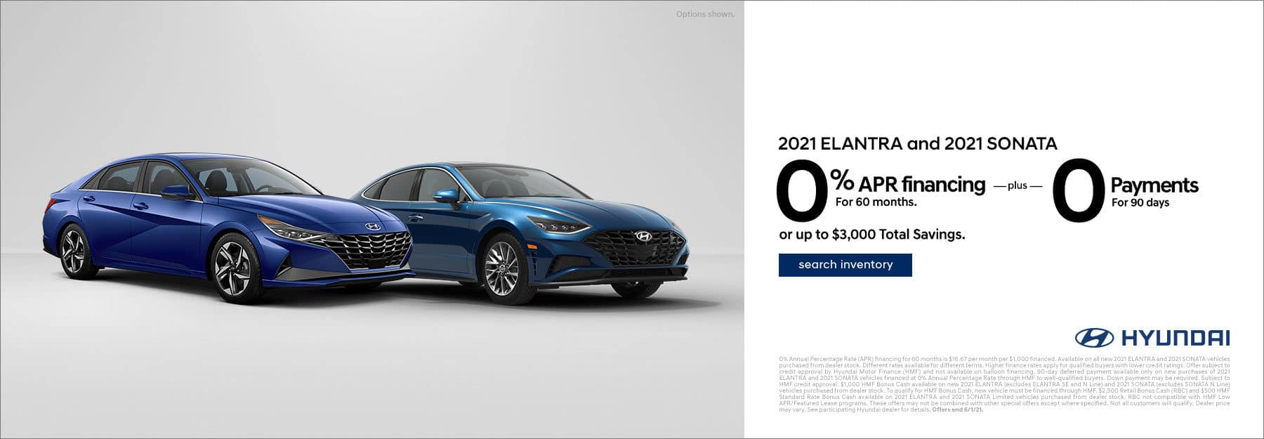 2021 Elantra and 2021 Sonata 0% APR