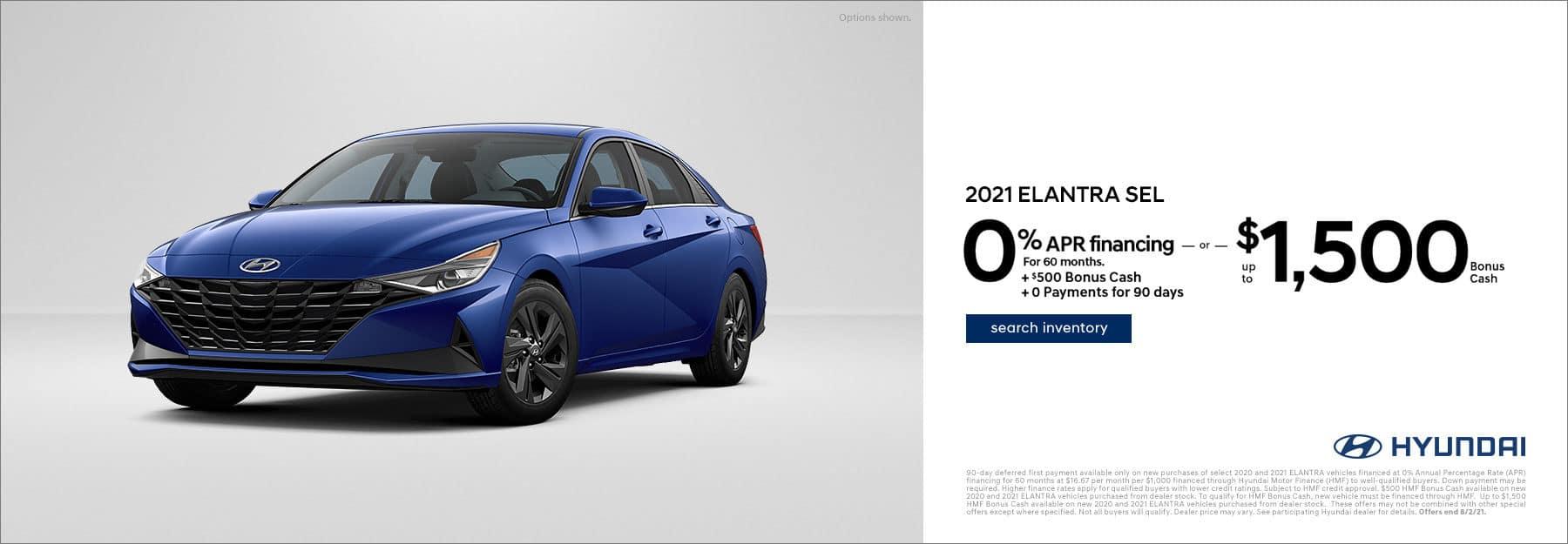 2021 Elantra/Sonata - 0% APR + 1000 Back - June - East