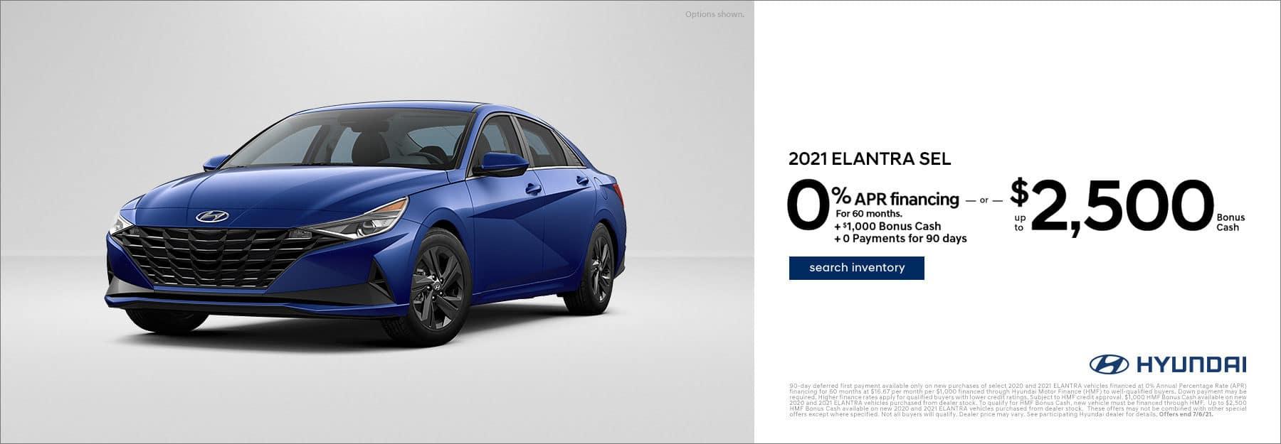 Hyundai 2021 Elantra Offer 1000 off