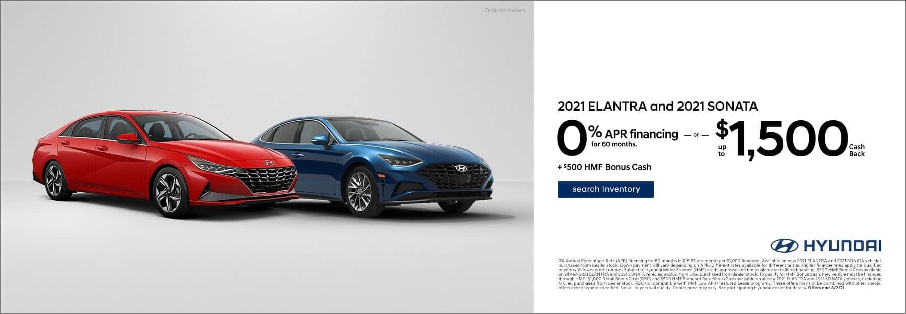2021 Hyundai Sonata and Elantra offer