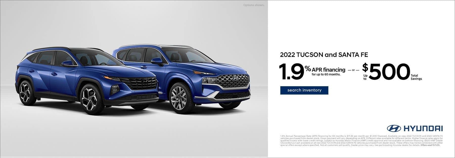 2022 Hyundai Tucson and Santa Fe APR offer