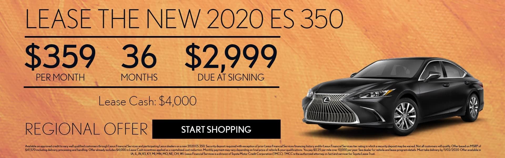 2020 Lexus ES 350 lease offer