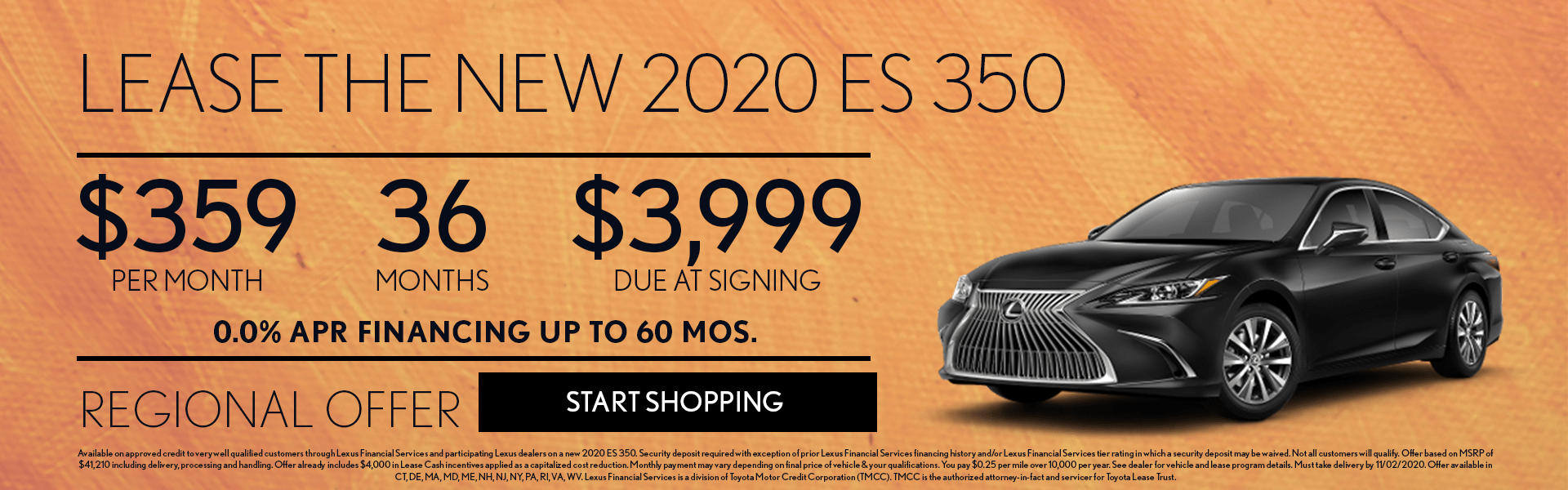 2020 Lexus ES 350 lease offer