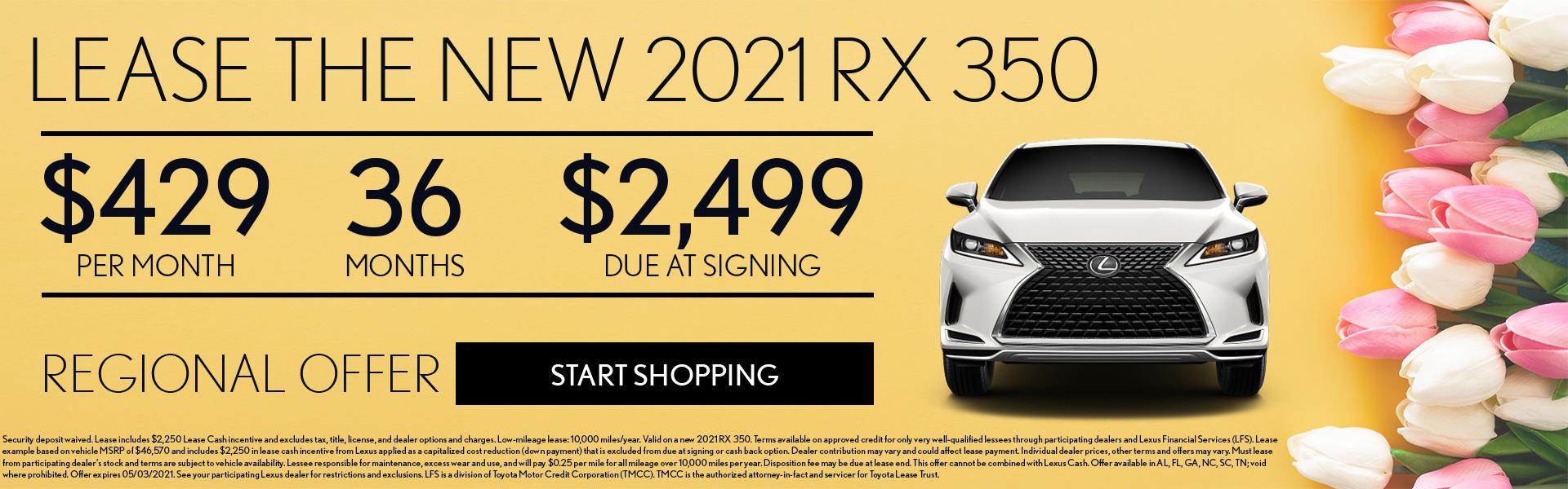 2021 RX 350 $429