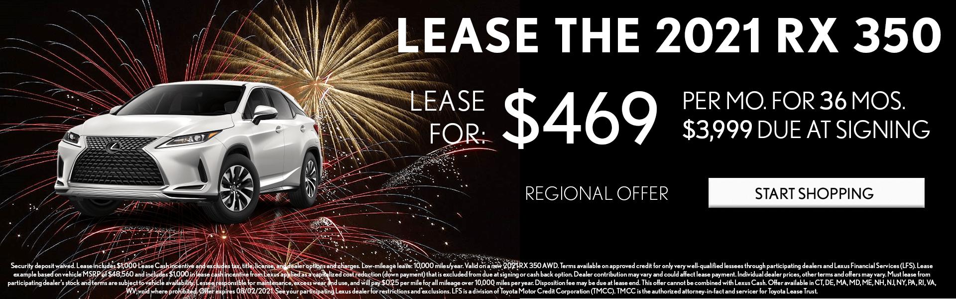 2021 Lexus RX 350 lease offer