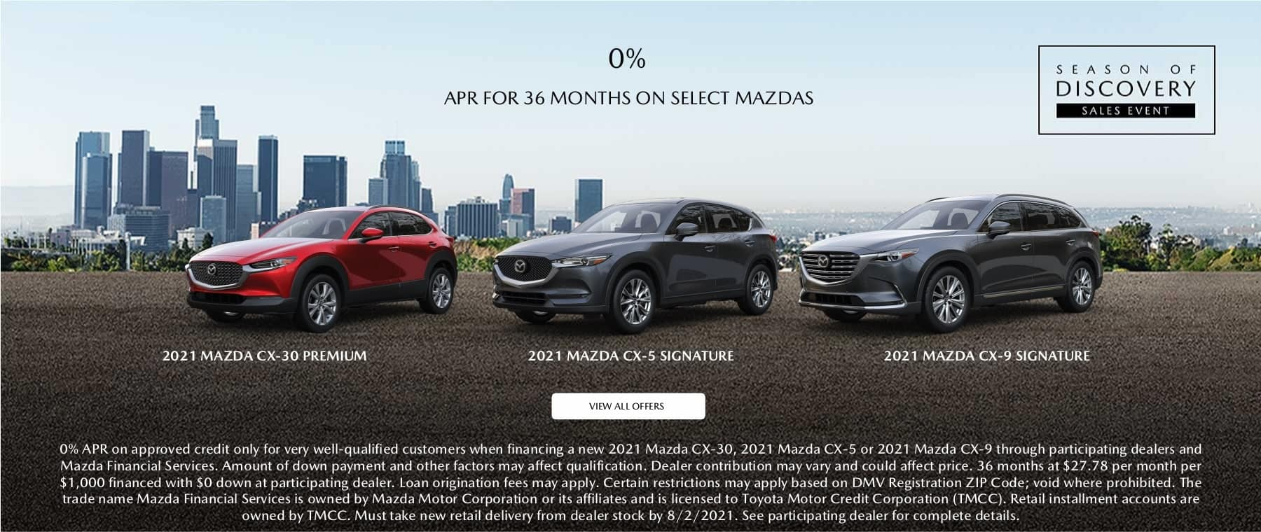 0% for 36 months on select Mazdas