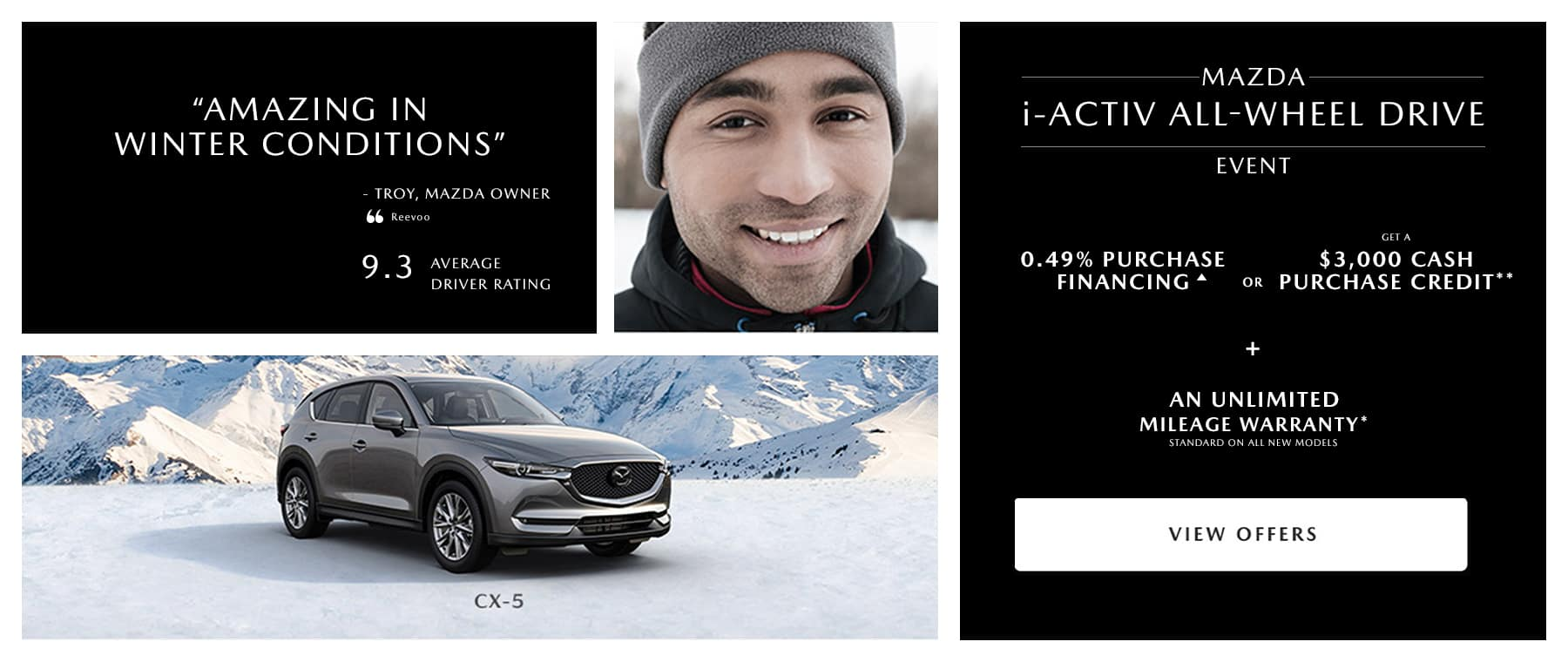 smiling man with gray mazda SUV