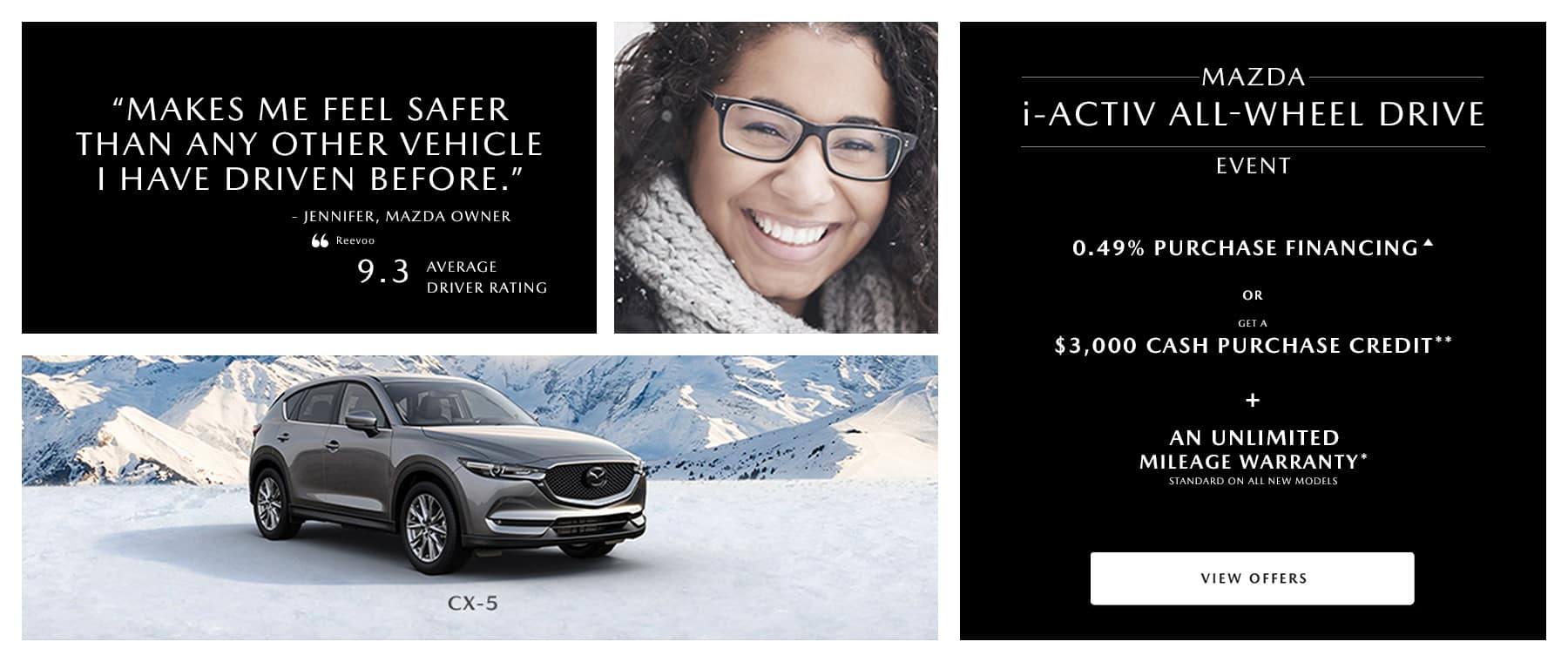 smiling woman with gray mazda suv