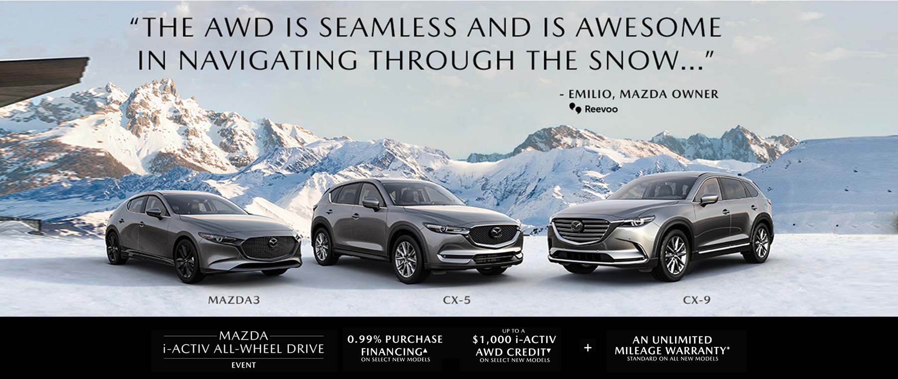 three silver mazdas in front of the mountains