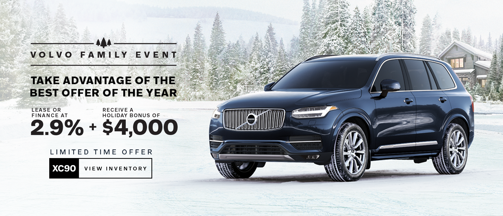 volvo family event banner blue suv in snow