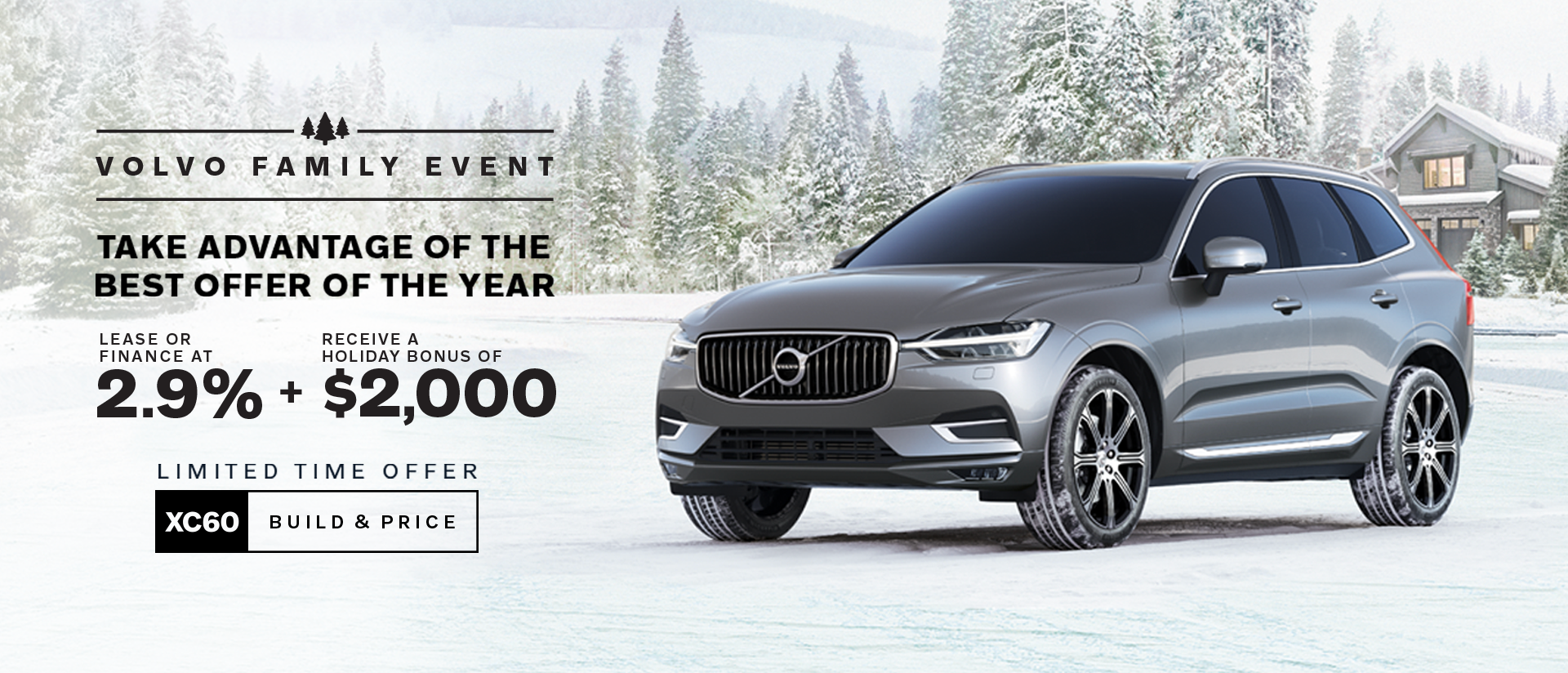 volvo family event banner gray suv in snow