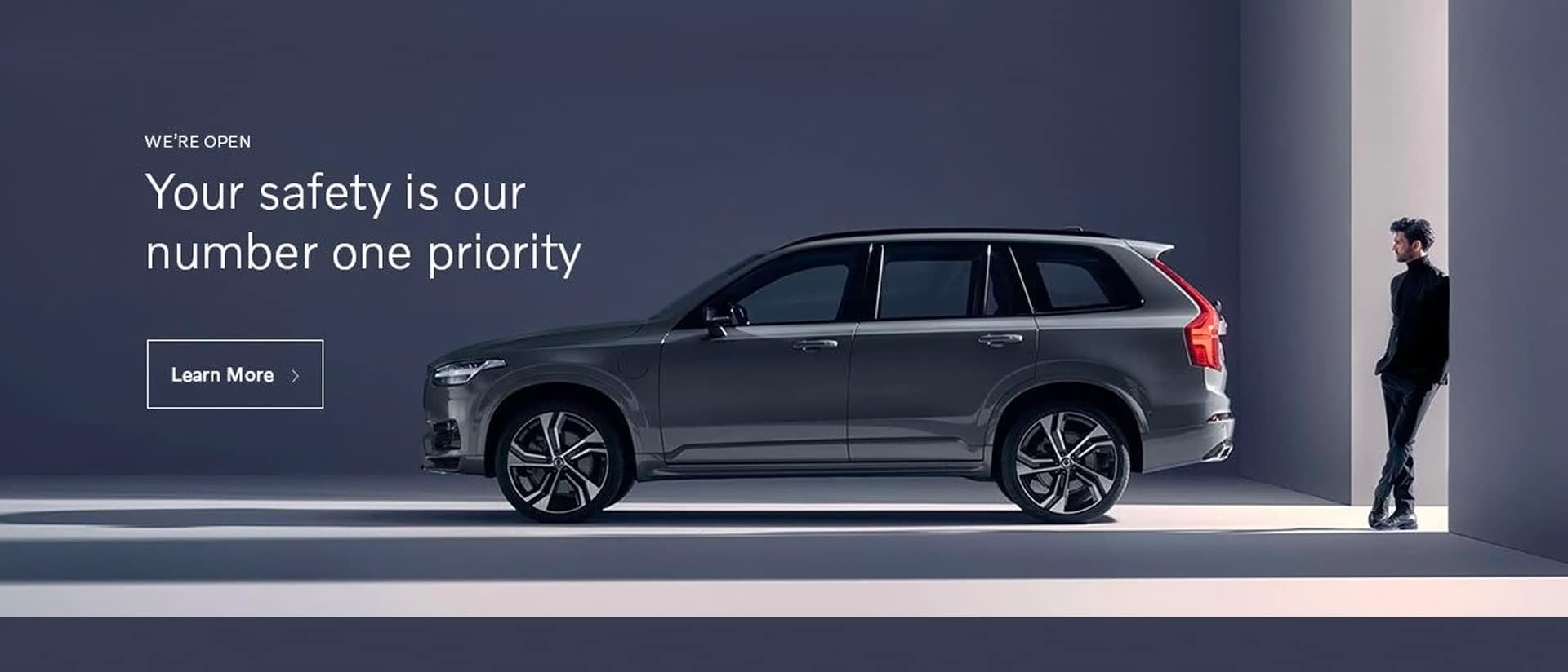 Volvo Covid Banner. Safety is our priority.