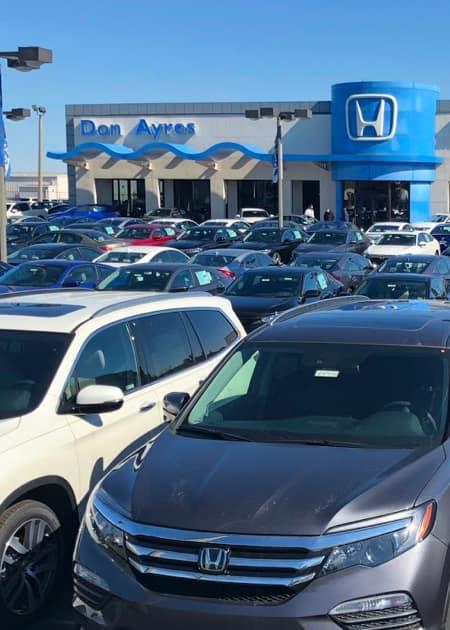Front of Honda Dealership Lot