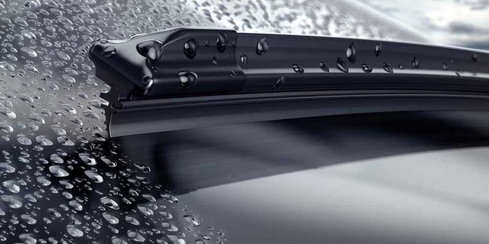 Wiper on a rainy windshield