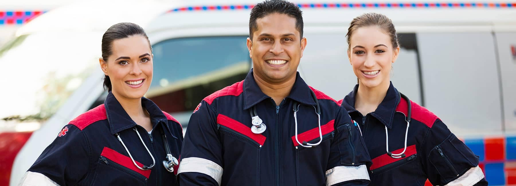 smiling first responders wearing stethoscopes