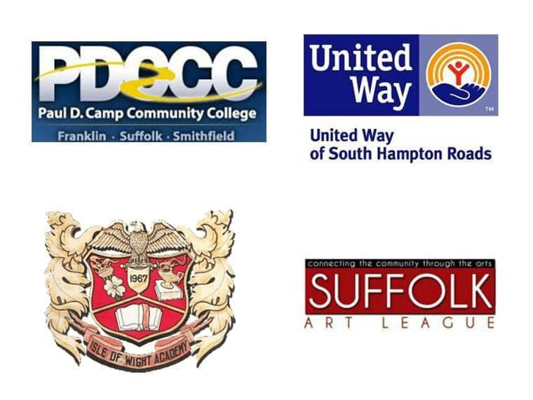 Paul D Camp Community College, United Way, Suffolk Art League, & Isle of Wight Academy Logos