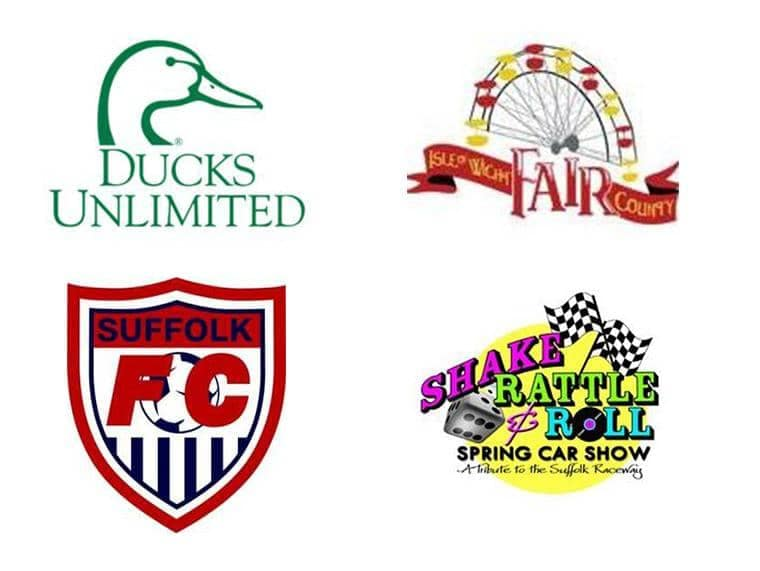 Ducks Unlimited, Isle Wight Fair, Suffolk Football Club, and Spring Car show logos