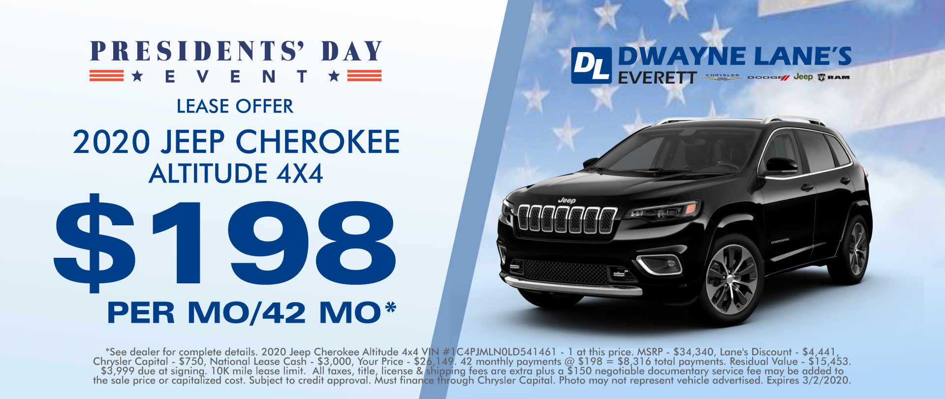 Dwayne lane's Everett 2020 Jeep Cherokee $198 per month