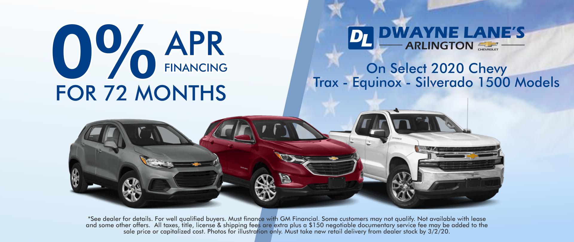 Dwayne Lane's Arlington 2020 Chevy Trax - Equinox - Silverado 0% APR for 72 months
