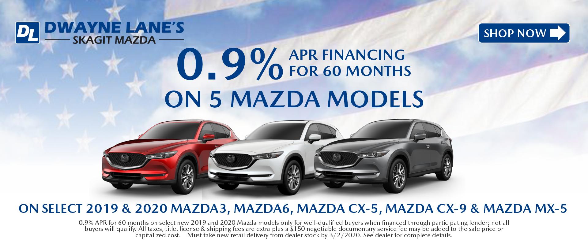 Dwayne Lane's Skagit Mazda - 0.9% APR on 5 models