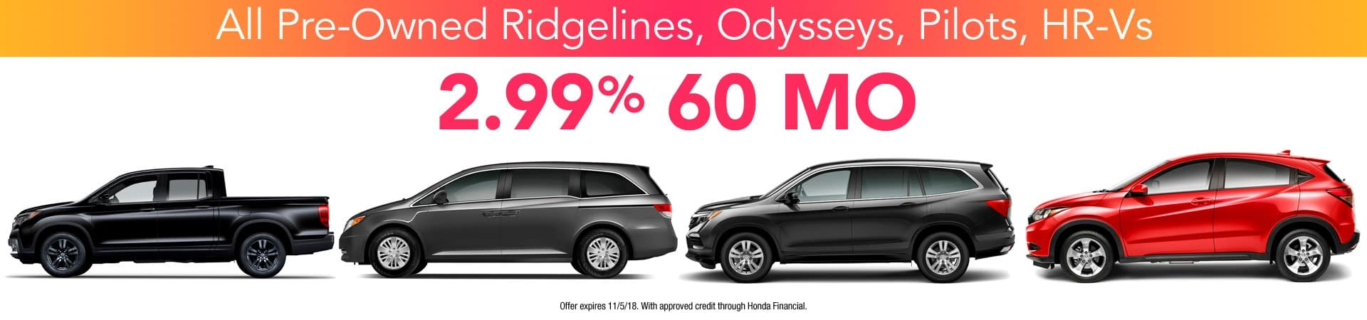 Honda certified pre-owned specials.