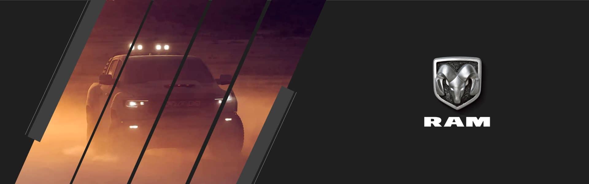 RAM Banner Image - Truck speeding through desert