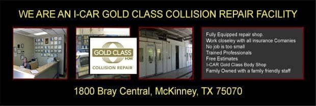 banner showing collision center is I-Car Gold Class
