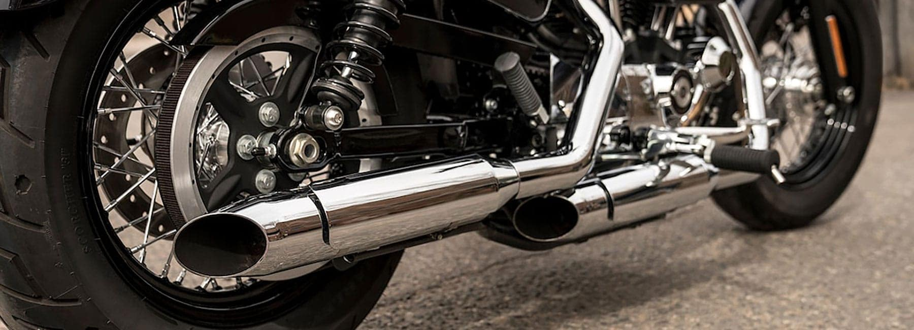 Close up of a Sportsters exhaust pipes