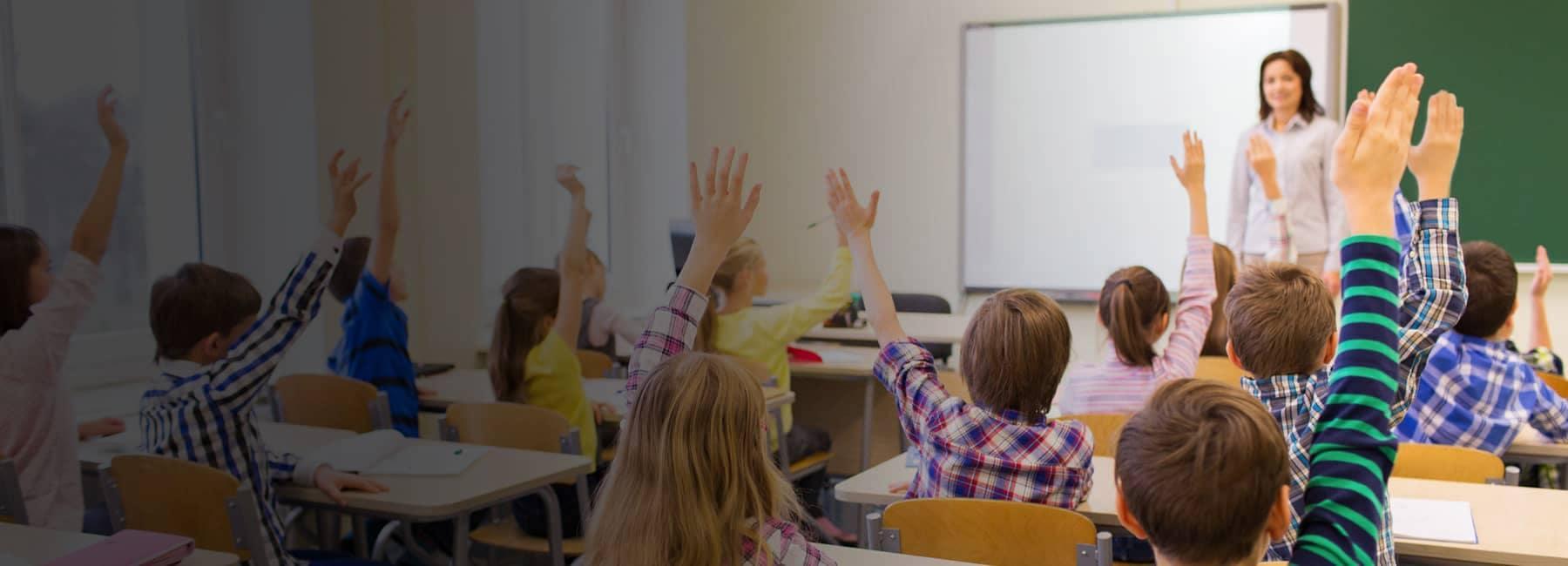 Children Raising Hands for Teacher in Classroom