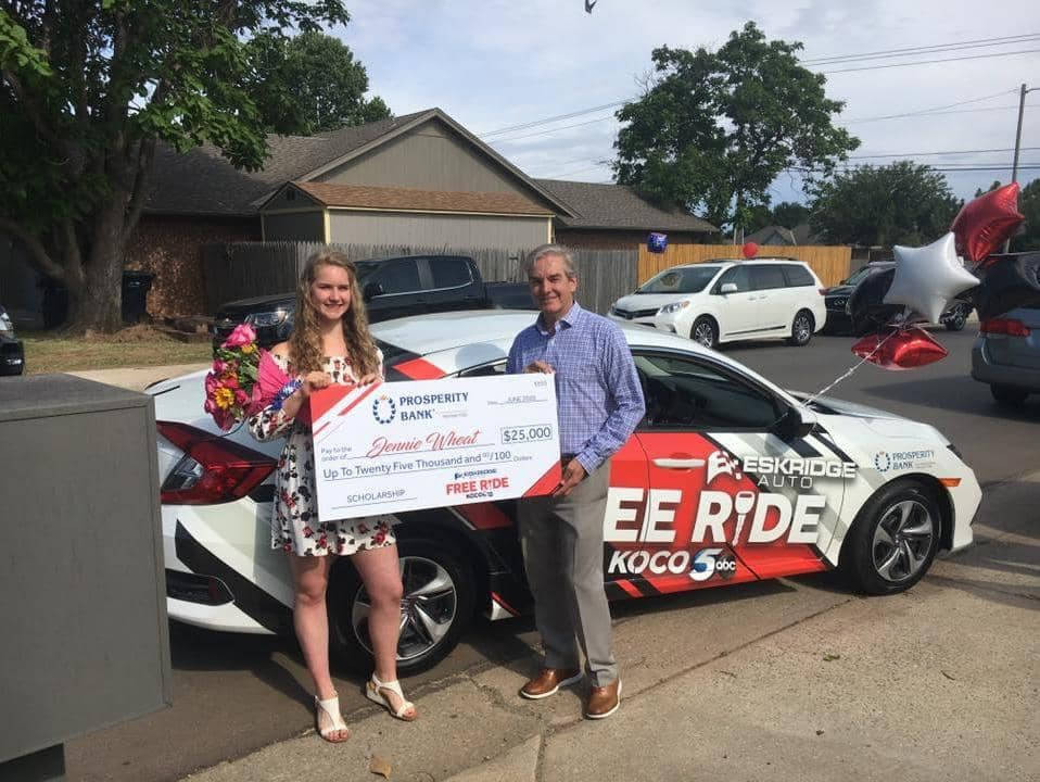 Free Ride Winner With Giant Check