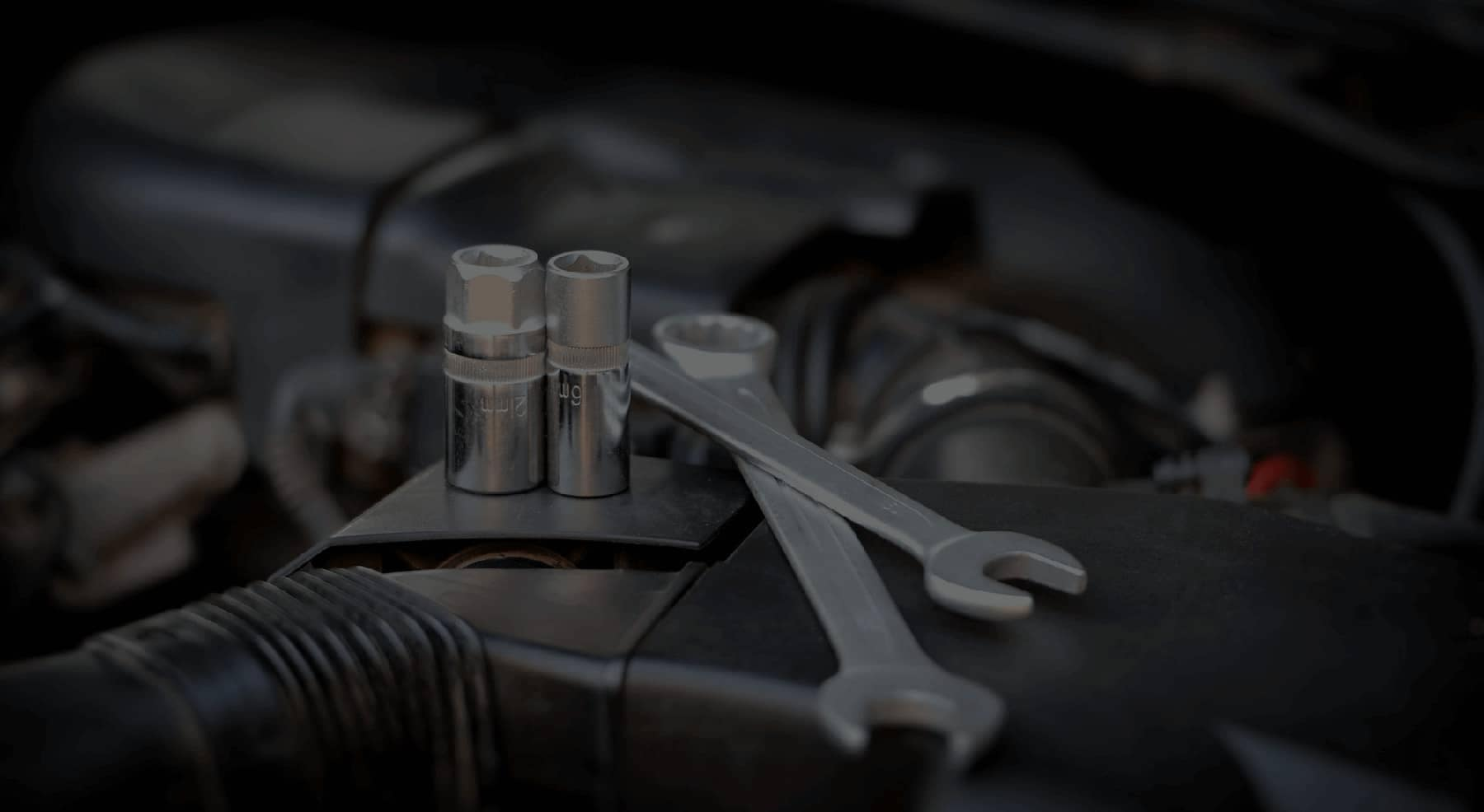 Tools on car engine