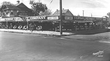 Ferman Chevrolet used car lot as shown in December 1935.